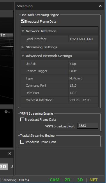 OptiTrack Streaming