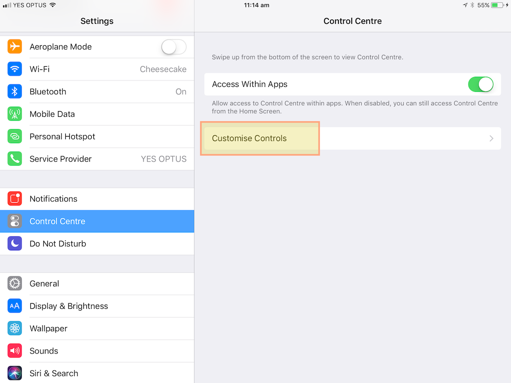 Customize Control Center